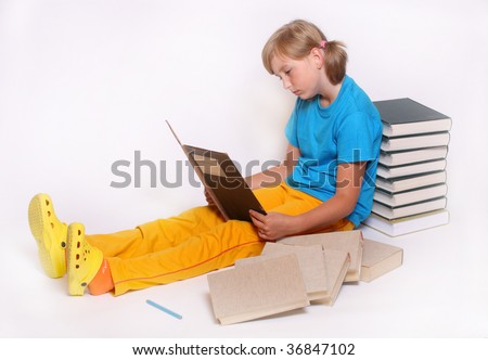 Pretty girl with books. - stock photo