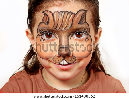Pretty girl with face painting of a chipmunk. - stock photo
