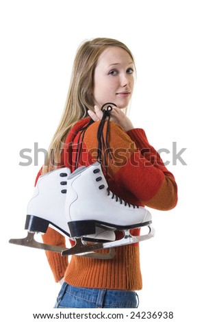 Pretty girl with figure skates