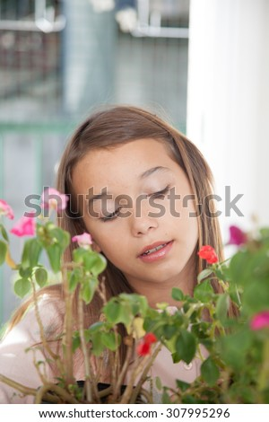 Pretty girl with flowers