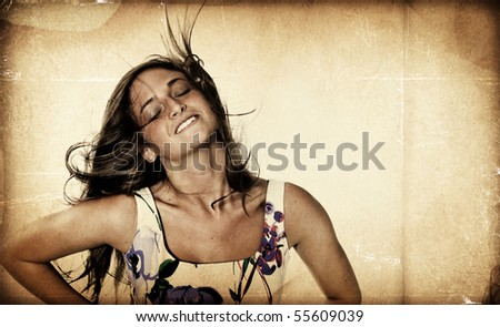 Pretty girl with hair blowing - Textured