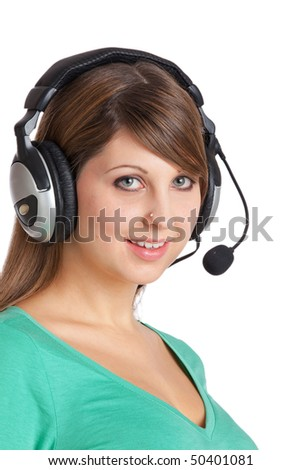 Pretty girl with headset is waiting for a call