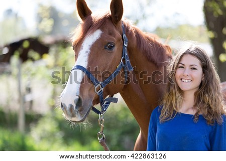 pretty girl with her horse