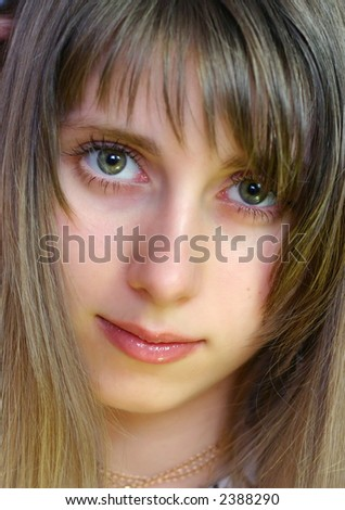 Pretty Girl with peacefull face (close up)