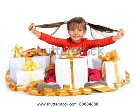 Pretty girl with presents - stock photo