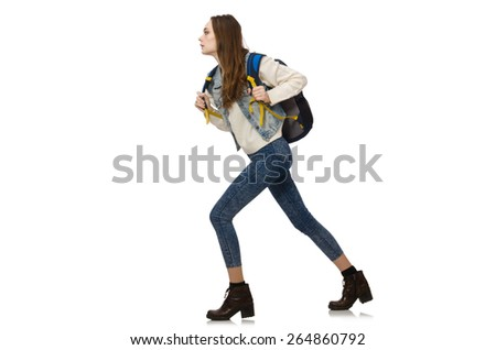 Pretty girl with rucksack isolated on white - stock photo