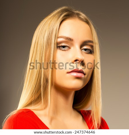 Pretty girl with straight hair - stock photo