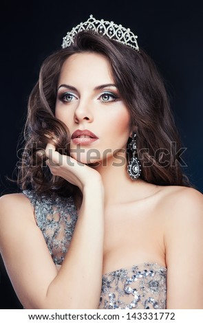 pretty girl with tiara - stock photo