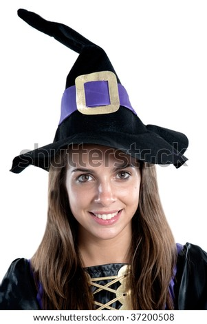 Pretty girl with witch costume isolated on white