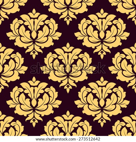 Pretty gold and brown damask style seamless pattern with foliate arabesque motifs in square format suitable for fabric or background design - stock photo