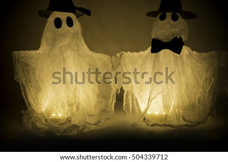 Pretty Halloween Ghosts. With Lighting Inside. Mom And Dad.