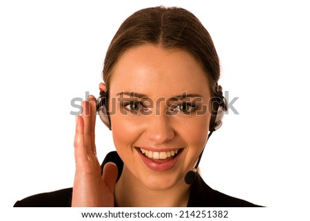 Pretty happy asian caucasian business woman with headset isolated - stock photo