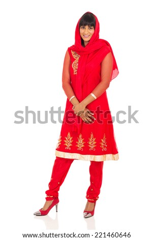 pretty indian woman in traditional saree - stock photo