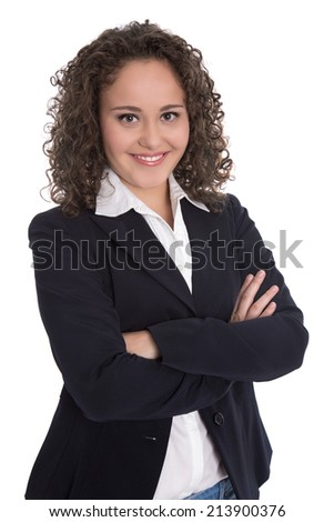 Pretty isolated young businesswoman in blazer and blouse. - stock photo