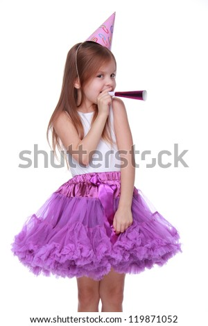 Pretty joyful kid girl on Holiday party - stock photo