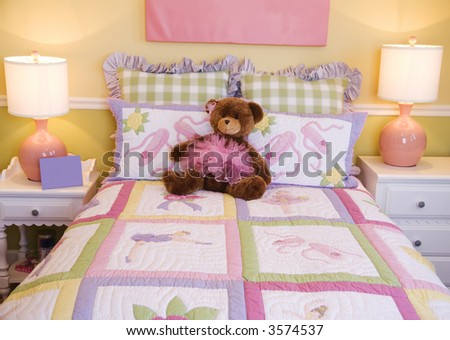 Pretty Kids room, toddlers pink bedroom decor style - stock photo