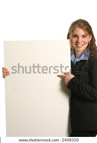 Pretty lady holding chart or graph - stock photo