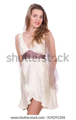 Pretty lady in light charming dress isolated on white - stock photo