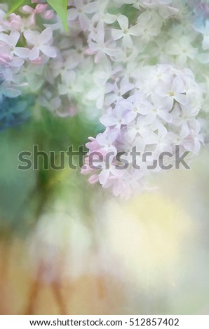 Pretty lilac bouquet transformed into a pastel illustration