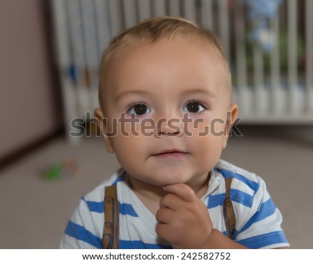 pretty little baby boy - stock photo