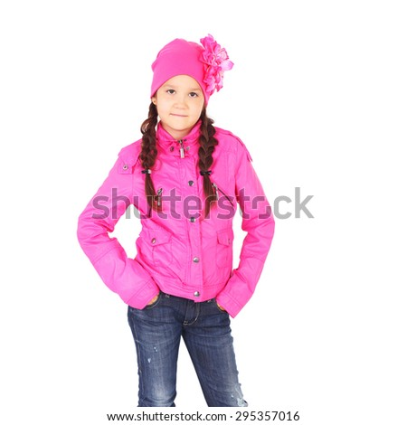 pretty little child in the pink jacket and cap