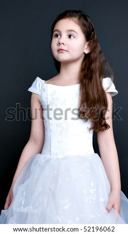 pretty little girl dreaming - stock photo