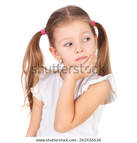 pretty little girl dreaming closeup - stock photo