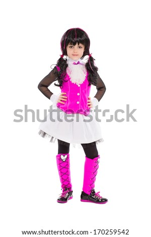 Pretty little girl in fashionable clothes. Isolated on white - stock photo