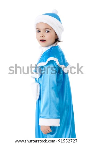 pretty little girl in the costume of the Snow Maiden - stock photo