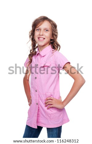 pretty little girl in the pink shirt over white background