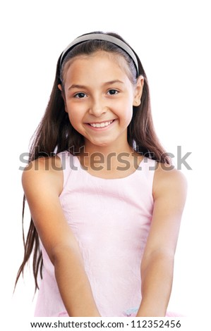 Pretty little girl isolated - stock photo