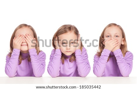 Pretty little girl: no see, no hear, no speak - stock photo