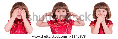 Pretty little girl: no see, no hear, no speak - stock photo