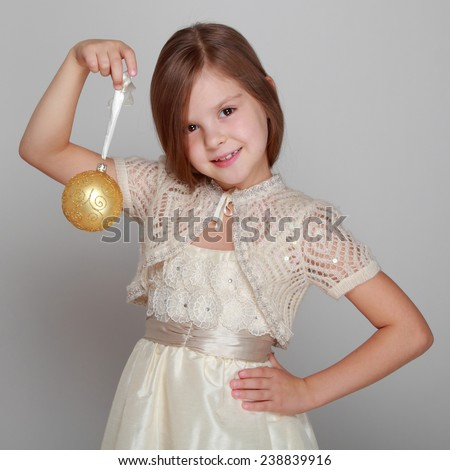 Pretty little girl on Holiday theme for christmas card - stock photo