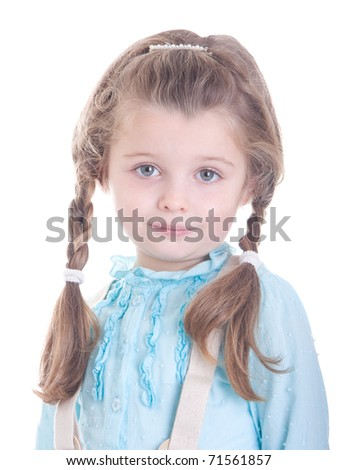 Pretty little  girl, portrait isolated on white background - stock photo