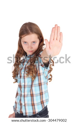 pretty little girl requiring stop with her hand, focus on the palm