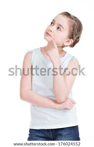 Pretty little girl standing and looking up - isolated on white. - stock photo