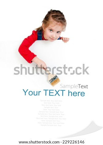 Pretty little girl with a brush and white board with sample text - stock photo