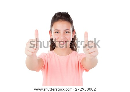 Pretty little girl with blue eyes saying Ok isolated on a white background - stock photo