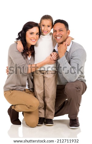 pretty little girl with her parents isolated on white background - stock photo