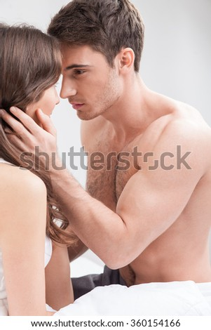 Pretty loving couple is spending time together - stock photo
