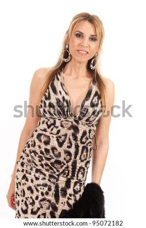 Pretty middle age woman with an evening gown on a white background.