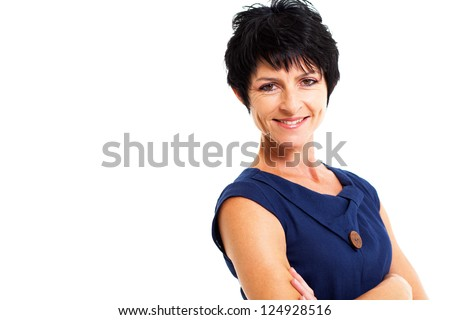 pretty middle aged woman portrait on white - stock photo