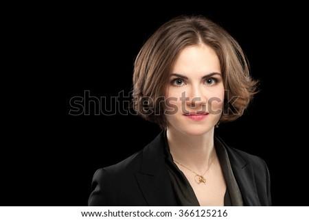 Pretty Model Corporate Headshot Black Background - stock photo