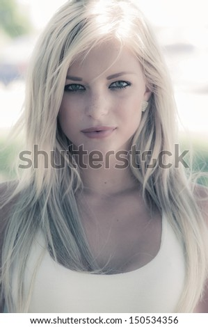 Pretty model with soft effects added. - stock photo