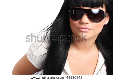 Pretty model with sun glass on white background
