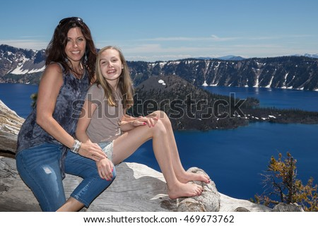 Pretty Mom and Daughter at Crater Lake Oregon