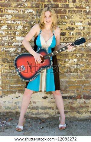 Pretty Musician - stock photo