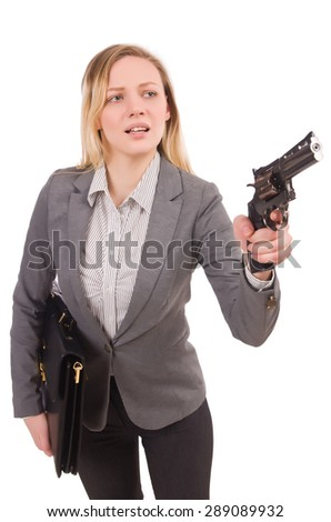 Pretty office employee with briefcase and handgun isolated on white - stock photo
