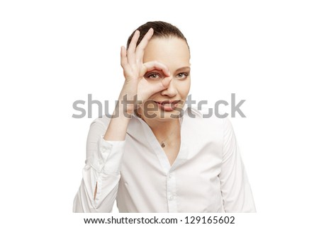 Pretty office woman on white background showing zero - stock photo
